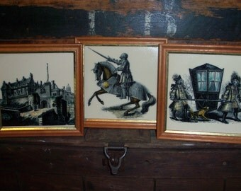 Set of 3 English Withersdale Ceramics Framed Tiles
