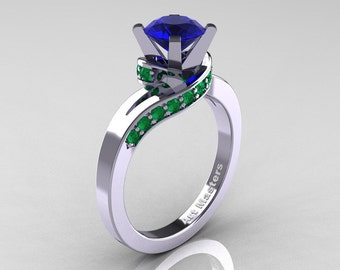 Classic 14K White Gold 1.0 Ct Sri Lanka Blue Sapphire Colombia Emerald Designer Solitaire Ring R259-14KWGCEMNBS
