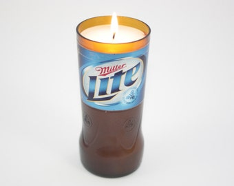 Recycled Beer Bottle Candle from Miller Lite Beer Bottle, High Scented,  Custom Made Candle