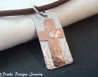Sterling silver men's cross necklace for men leather necklace men rustic hammered cross pendant