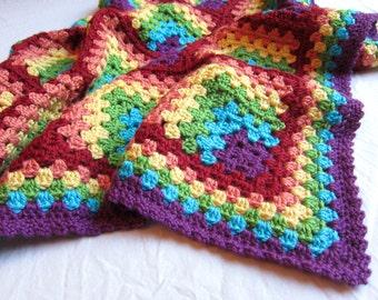 rainbow baby blanket - bright rainbows baby blanket - crochet baby blanket - handmade by RockinLola