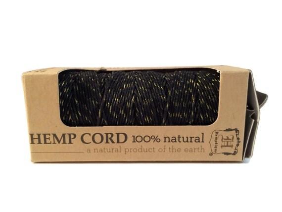 Hemp Cord, Black and Gold Metallic, 1mm, Macrame Hemp Twine, Jewelry