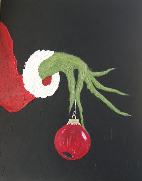 """The Grinch 16X20"""" Christmas Painting on Stretched Canvas FREE SHIPPING ..."""