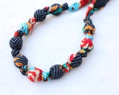 Fabric Necklace,Teething Necklace, Chomping Necklace, Nursing Necklace - Flowers & stripes