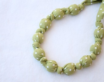 Fabric Necklace,Teething Necklace, Chomping Necklace, Nursing Necklace - Olive Dots