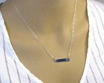 Pure Silver Bar Necklace, Silver Name Necklace,  Personalized Necklace, Necklace for Women,  .999FS Bar, Sterling Silver Chain