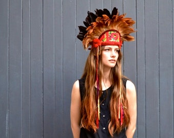 Persephone - Vibrant feather and Textile Headdress