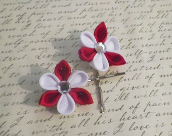 Red and White Kanzashi flower Bobby Pins