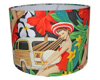 Lampshade drum shade in Alexander Henry Pin Up Girl Retro Fabric - 30cm Pendant/lamp fitting