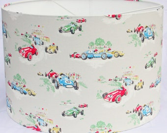 45cm Lampshade drum shade in Cath Kidston racing car fabric in red,green, blue, yellow - 45cm Pendant/lamp fitting