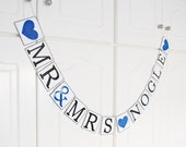 FREE SHIPPING, Mr & Mrs...customize your name banner, Bridal shower decorations, Bachelorette party decor, Wedding banner, Navy blue hearts