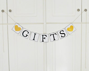 FREE SHIPPING, Gifts banner, Bridal shower banner, Wedding banner, Engagement party decoration, Photo prop, Bachelorette party decor, Gold