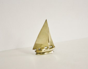 Vintage Small Solid Brass Sail Boat