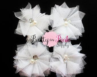 White Tulle Pearl and Rhinestone Flowers- You Choose Quantity- DIY Headbands- Flower Craft Supply- PrettyinPinkSupply- Baby Headbands
