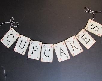 Cupcake Paper Banner Wedding Decor Vintage Lexicon Cards Cupcakes Sign