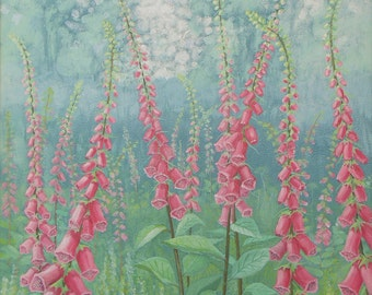 Canvas print of English landscape of Foxgloves from an acrylic original painting 'Wild Foxgloves' by Jo Grundy