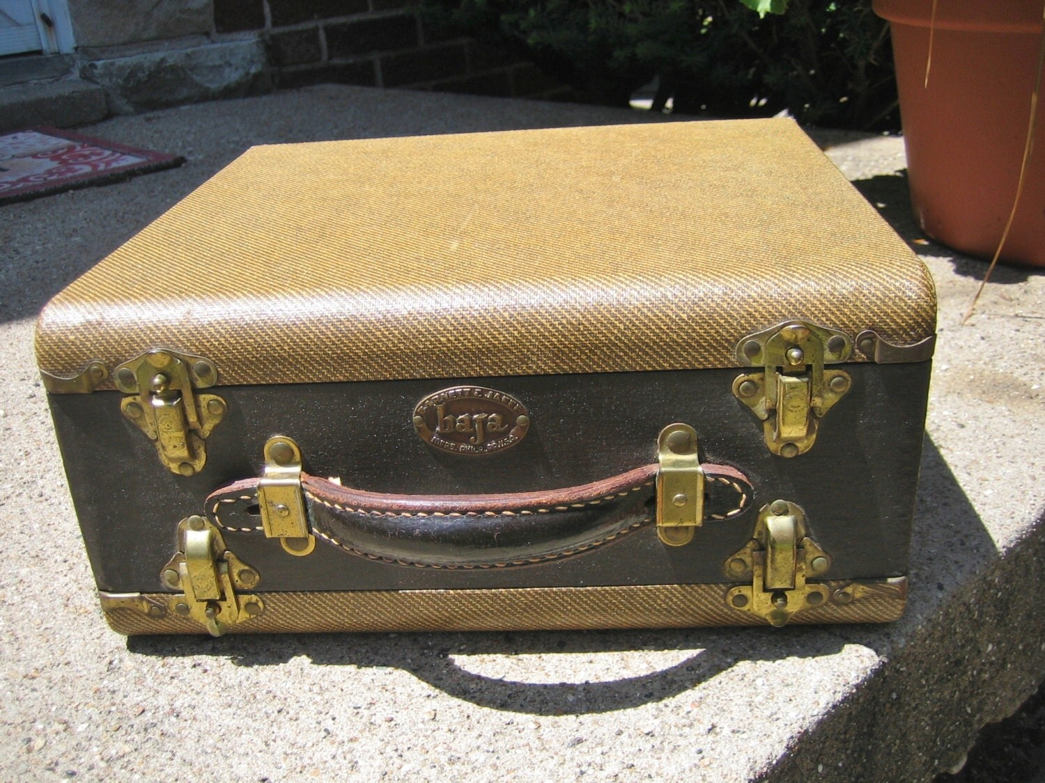 Vintage baja slide case double sided storage leather handle - Fax caser bajas ...