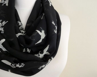 Bird pattern Infinity scarf Black Circle Scarf Loop Scarf Scarves, Shawls, Spring - Fall - Winter - Summer fashion