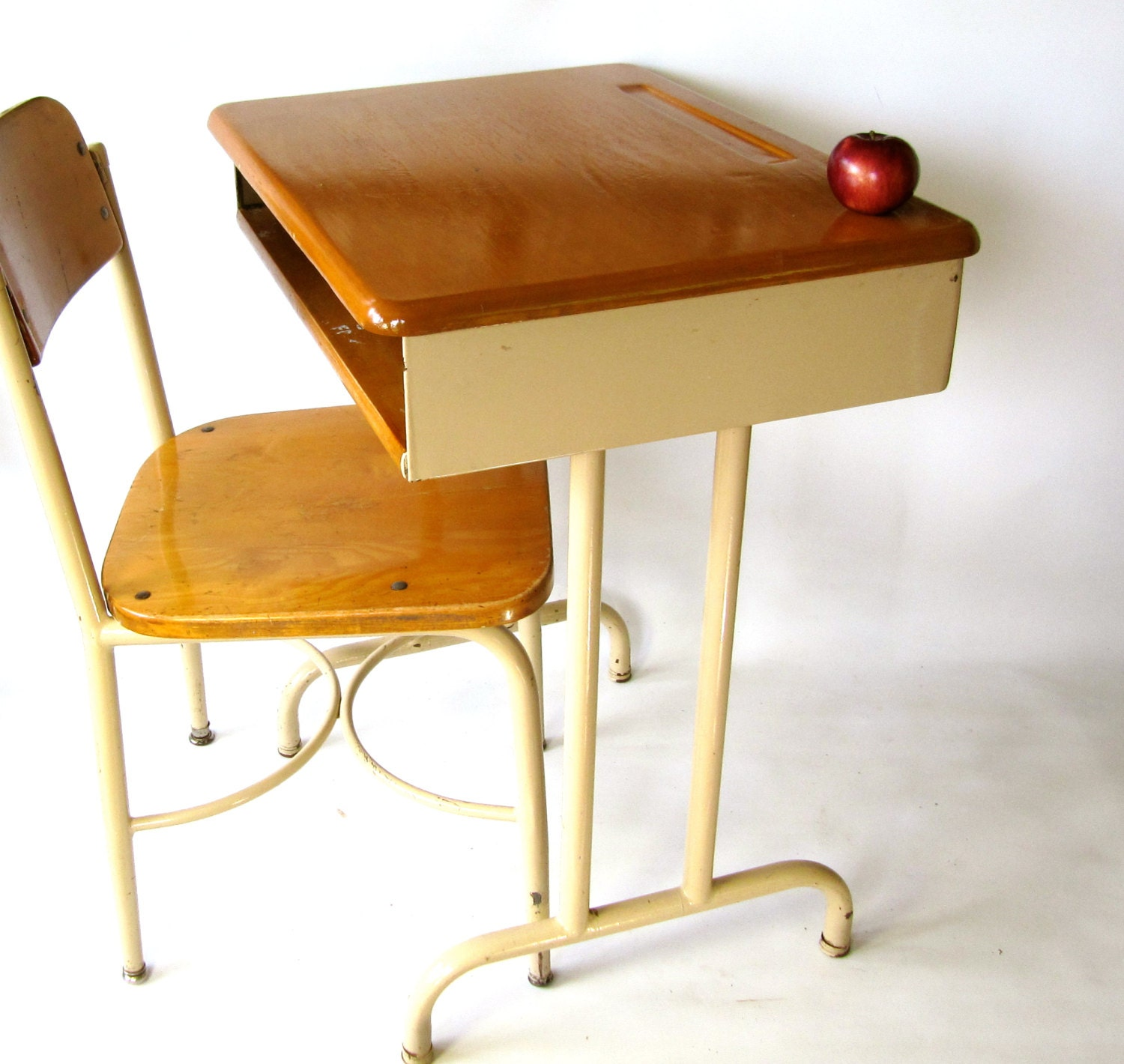 Vintage School Desk Solid Wood Top Adult Size