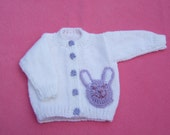Hand knitted baby girl cardigan with bunny rabbit applique newborn