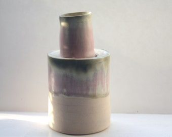 Abstract chunky stoneware ceramic bottle with pink glaze, hand thrown