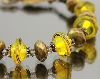 Lampwork Bracelet golden mirages