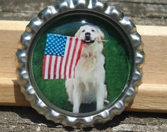 Golden Retriever Patriotic Bottle Cap Pin