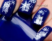 Christmas Nail Wraps Water Transfers Decal Nail Art Y10 Snowmen & Snowflakes Salon Quality