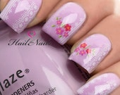 Nail Art Wraps Water Transfers Decals Y59 Pink Lace Rose Flowers Salon Quality