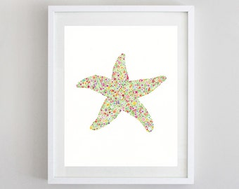 Starfish Watercolor Print - Starfish Tropical Nursery Art - Starfish Art - Girl's Wall Decor - Floral Starfish Painting