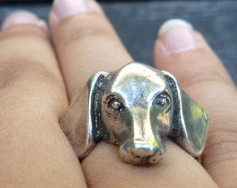 Dachshund Head Ring-Dog Jewelry-Dog Ring-Canine Jewelry-Dog Lover Jewelry-Unique Ring-Sterling Silver Ring