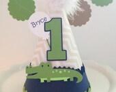 Lil Blue Bayou Alligator Birthday Party Hat - Personalized