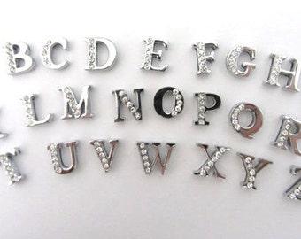 Full Set, 26 Letters, Rhinestone ALPHABET Slide Charms 8mm