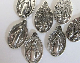 10 Pieces Virgin Mary Medal Tibetan Silver