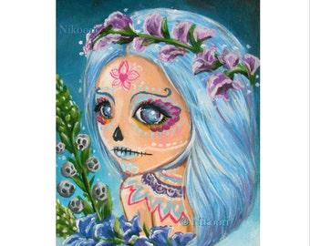 """ACEO ATC Artists Trading Card, Fantasy Art- Sugar Skull Lorena (2.5x3.5"""") Print No. 3 of Seires """"Day of the Dead"""", Dia de los Muertos"""