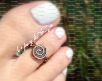 Toe Ring - Copper Coin - Stretch Bead Toe Ring