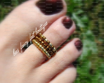 Stacking Toe Ring - Cleo - Bronze - Gold - Pattern - Stretch Bead Toe Ring