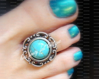 Toe Ring - Fit For a Princess- Turquoise Stone - Silver - Stretch Bead Toe Ring