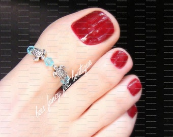 Big Toe Ring - Silver Turtles - Aquamarine Crystal - Stretch Bead Toe Ring