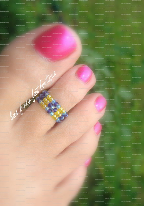 Stacking Toe Ring - Tribal Pattern - Aquamarine - Saphire - Yellow - Stretch Bead Toe Ring