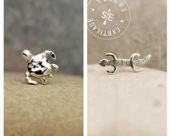 CARTILAGE or TRAGUS SET turtle & gecko sterling silver, cartilage earrings, tragus earrings, lobe, cartilage piercing, tragus piercing