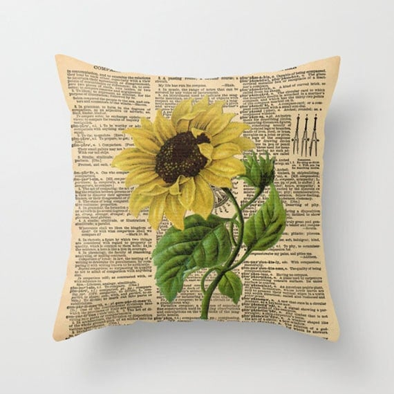 Items similar to Throw Pillow Cover Sunflower on a Vintage ...