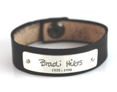 Personalized Handwriting Leather Bracelet, Small Leather Cuff, Unisex Memorial Bracelet, Custom Writing Jewelry - Thin Leather Cuff