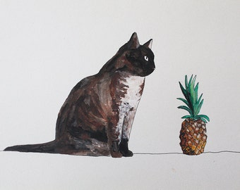 cat and pineapple Etsy  illustration for the wall
