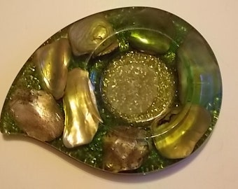 Vintage Lucite Green Coaster With Shells