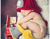 Made to Order Crochet Newborn Photography Prop Firefighter Outfit