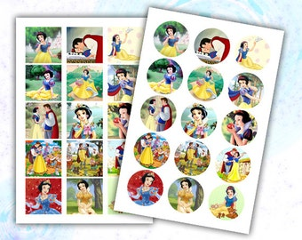"""Snow White 1 inch digital images collage sheet 4x6"""""""
