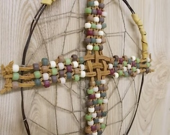 CrossCatcher (CC03)– A Beaded leather lacework Cross encircled in a wire branch, dream catcher