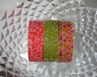 Spring Flower Washi Tape Set of 3