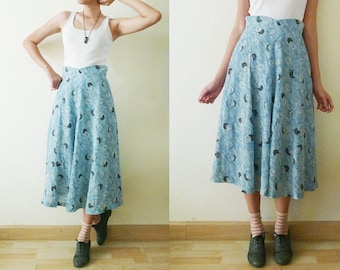 Vintage 50s semi circle maxi skirt, with button printed, high waist full skirt, blue tone, cute build - in waistband, made in Japan,  XS-S
